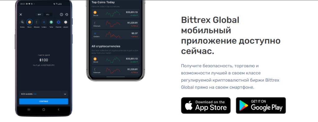 Мобильные приложения Bittrex