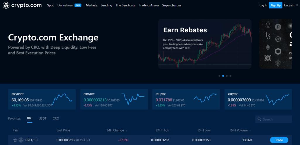 Главная страница платформы Crypto.com Exchanger