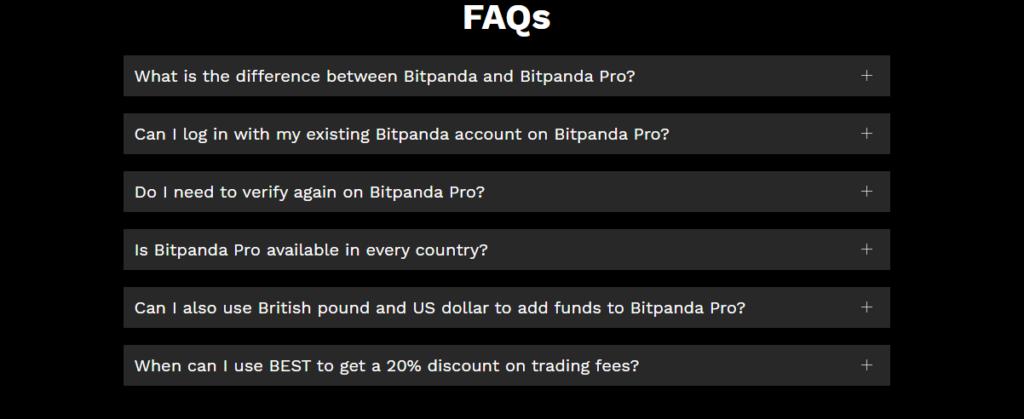 Вопросы что предоставляет Bitpanda Pro