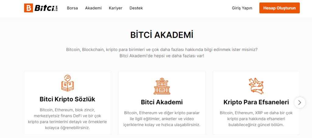Разделы портала Bitci