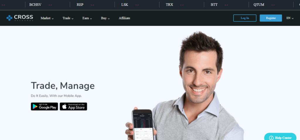 Главная страница платформы CROSS exchange, не показывает реальную картину происходящего