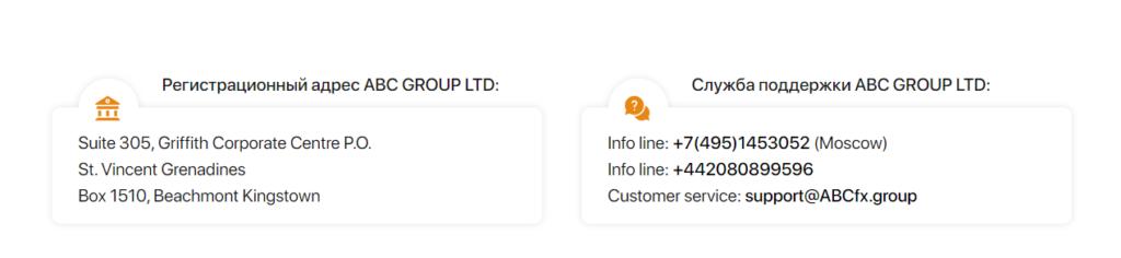 Информация о месте регистрации проекта ABCFX