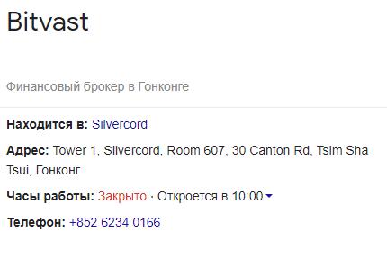 На данном изображении выможете непосредственно ознакомится с адресом Bitvast
